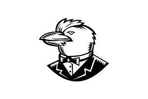Kookaburra Wearing Tuxedo Woodcut Bl