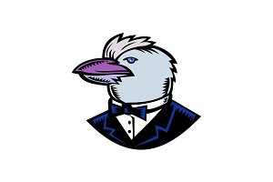 Kookaburra Wearing Tuxedo Woodcut Co