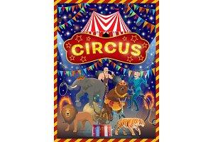 Circus animals, acrobat, strongman