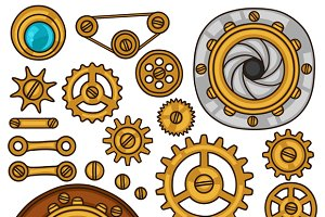 Set of steampunk gears.