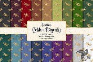 Golden Dragonfly Digital Paper