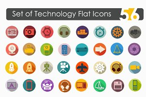 56 technology flat icons