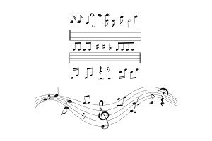 Music notes, musical design element