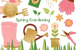 Spring Gardening Tools Clipart Set