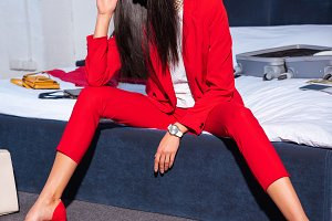 beautiful young woman in stylish red