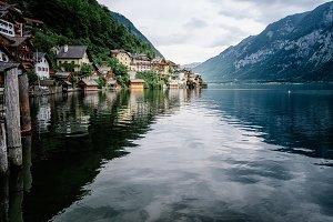 Scenic view of lakeside of Hallstatt