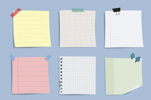 Blank reminder paper notes vector