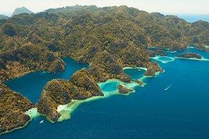 Aerial view tropical lagoon,sea