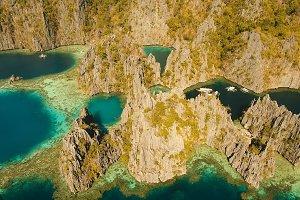 Aerial view Twin lagoon, sea, beach