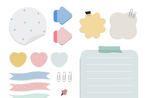 Colorful reminder paper notes vector