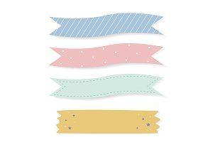 Colorful patterned tape vector set