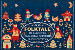 FOLKTALE. Vector Set of Illustration