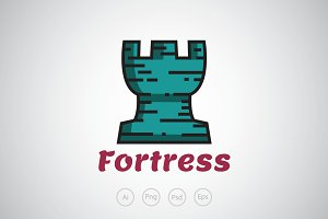 Blue Fortress Logo Template