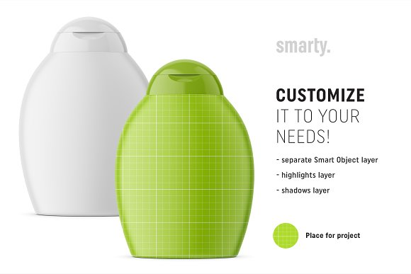 Shampoo bottle mockup in Product Mockups - product preview 1