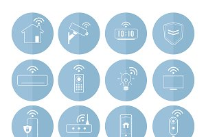 Smart home technology icons vector