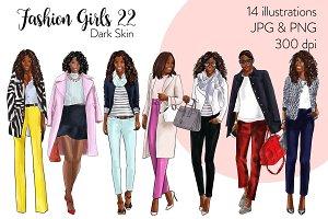 Fashion Girls 22 - Dark Skin clipart