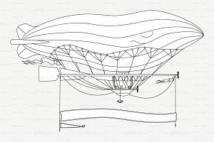 ♡ vector outline airship, zeppelin