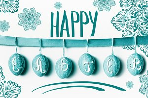 Happy Easter greeting card turquoise