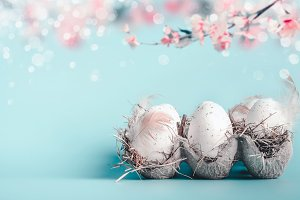 Easter background in pastel color