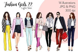 Fashion Girls 22 -Light Skin clipart