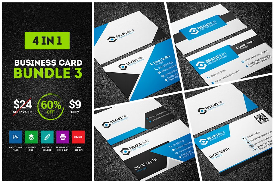 4 blue business cards bundle 3 business card templates previous reheart Images