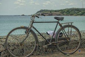 Bicycle at beach in Sri Lanka