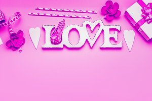 Word Love and greeting accessories