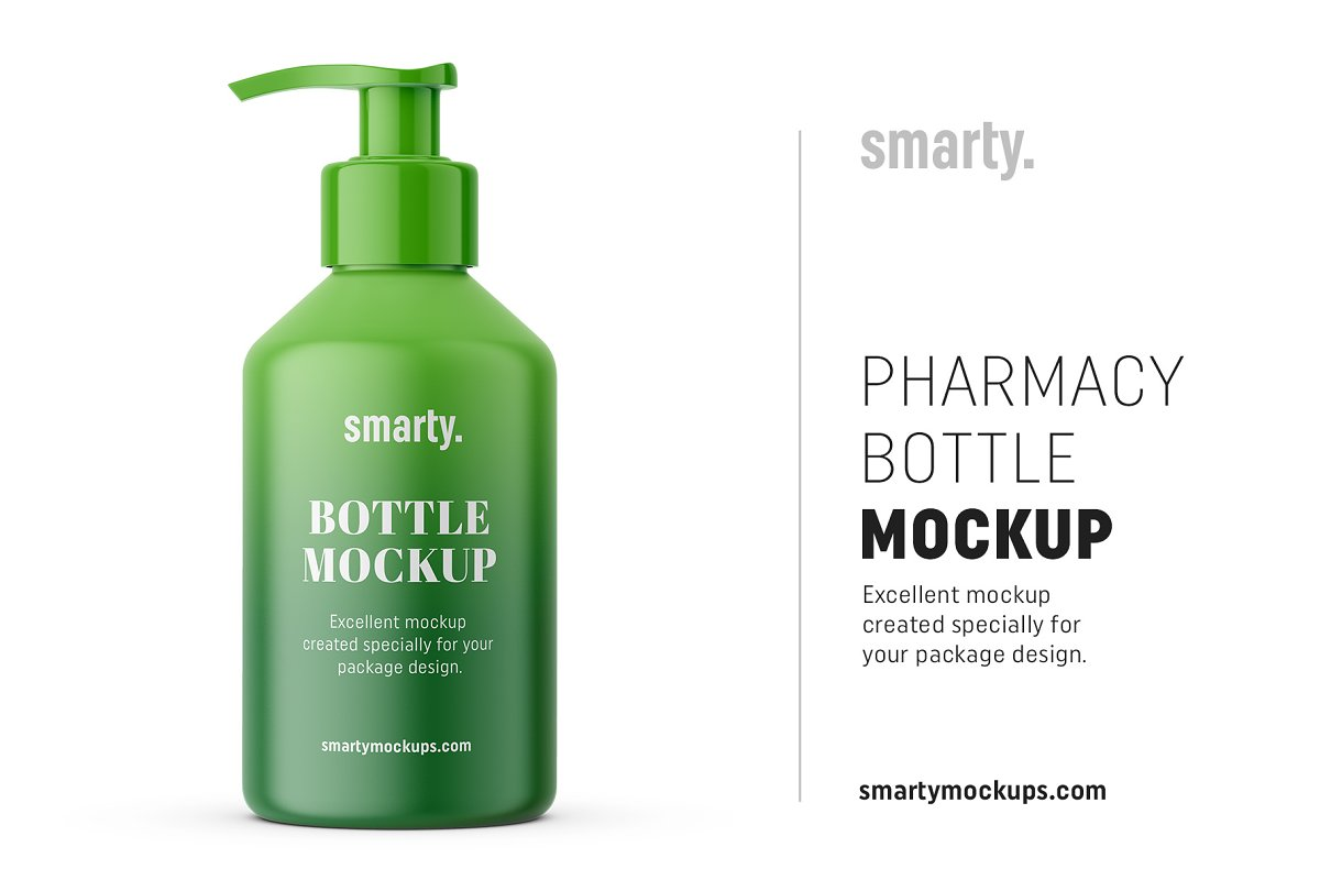 Pharmacy pump bottle mockup in Product Mockups