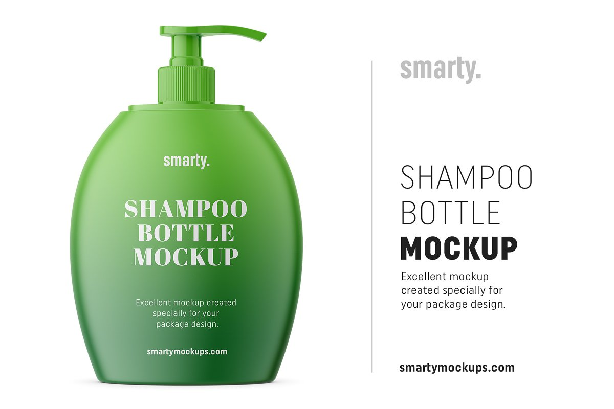Shampoo bottle with pump mockup