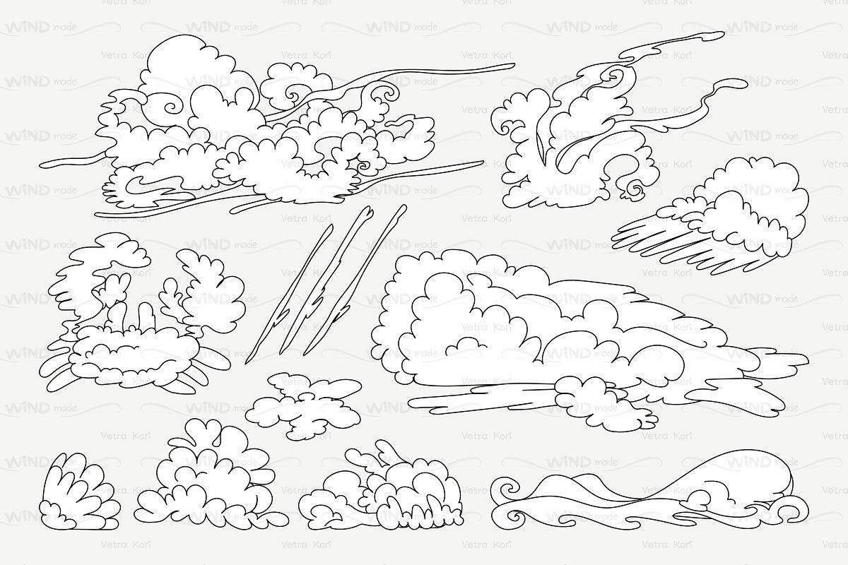 ♡ vector outline animal shaped cloud