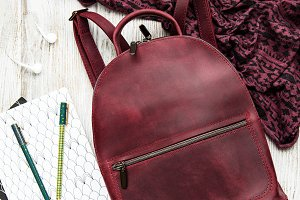 leather woman backpack
