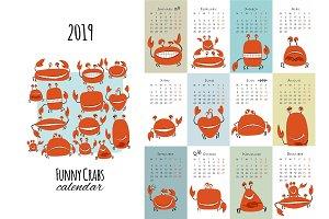 Funny crabs, calendar 2019 design