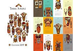 Tribal masks, calendar 2019 design