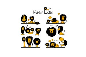 Funny lions collection, sketch for