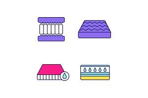 Orthopedic mattress color icons set