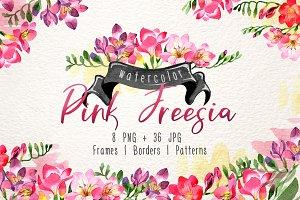 Pink Freesia Watercolor png