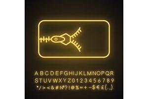 Zipper neon light icon