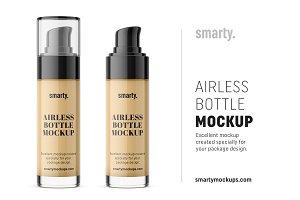 Short glass airless bottle mockup