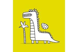 Funny dinosaur, childish style