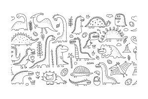 Funny dinosaurs. Seamless pattern
