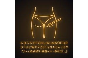 Gluteoplasty neon light icon