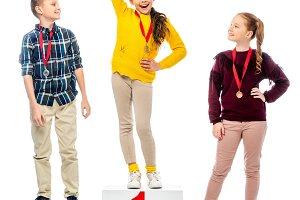 schoolchildren with medals standing