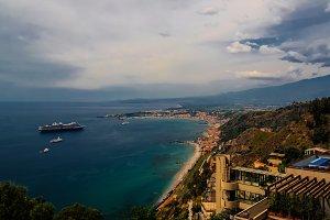 Aerial view to Taormina bay, Sicily
