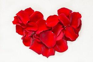 Red rose petals heart flat lay.