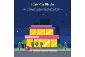 Night City Market Near Road Web