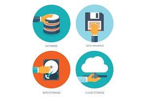 Flat cloud computing background