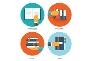 Flat vector illustration with books