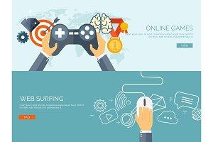 Vector illustration. Online games