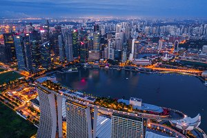 Aerial view of Downtown Singapore ci