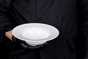 round empty white plate for soup